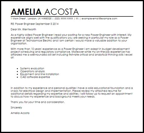 Power Engineer Resume Cover Letter by Power Engineer Cover Letter Sle Livecareer