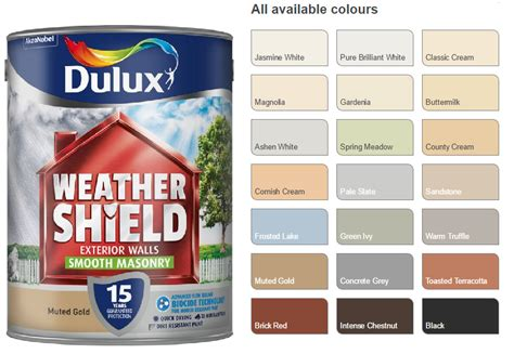 dulux weathershield smooth masonry paint 5l pick your colour outdoor paint ebay