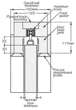 iMpero fire rated FD30 pocket door gear - dimensions