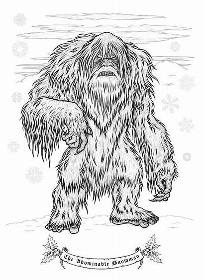Krampus Coloring Christmas Creepy Pages Abominable Snowman