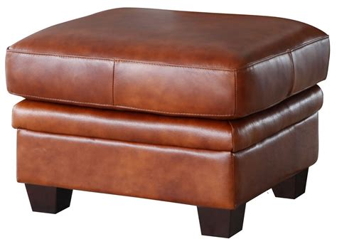 Leather Top Ottoman by Aberdeen Auburn Top Grain Leather Ottoman Wh 1528 00 3730