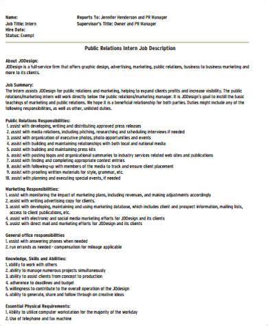general intern job description sample  examples