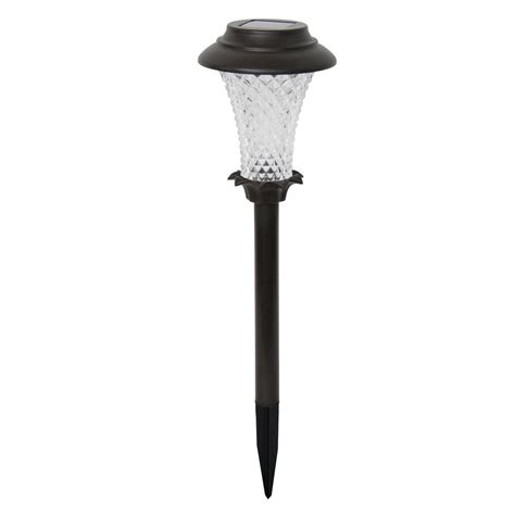 home depot solar lights hton bay outdoor solar path light with texture glass 6