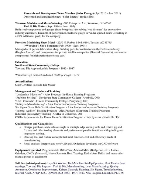 Tool And Die Maker Resume Format by Kevin Hinkle Resume