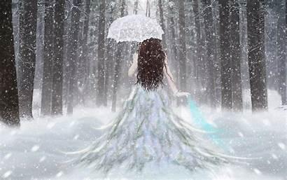 Snow Princess Umbrella Fantasy Rain Wallpapers Winter
