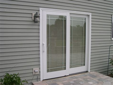 charming pella sliding glass doors with blinds inside at