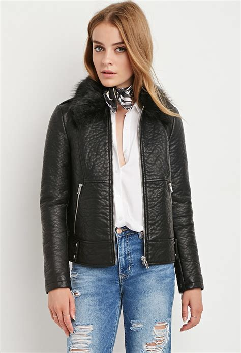 lyst forever 21 faux leather moto jacket in black