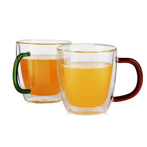 Le creuset heritage mugs (set of four) best for kids: High Quality Glass Coffee Mug 10 Oz Double-wall Heatproof Insulated Glass Coffee Mugs Tea Cup ...