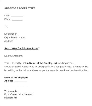 proof of address letter employee verification letter 14 free word pdf