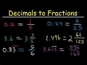 decimals  fractions  simplest form improper