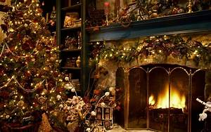 Christmas tree next to the fireplace wallpaper #16233