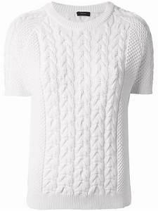 Lyst - Joseph Short Sleeve Cable Knit Sweater in White
