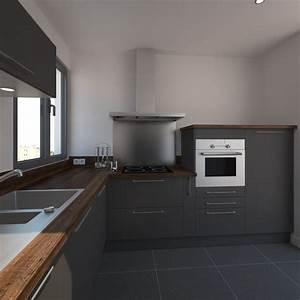 idee relooking cuisine cuisine grise petite et moderne With cuisine grise plan de travail bois