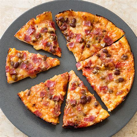 england bar pizza  baked beans  salami cooks country
