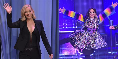 Jennifer Lawrence Wears A Crazy Dress With Rainbow Sleeves
