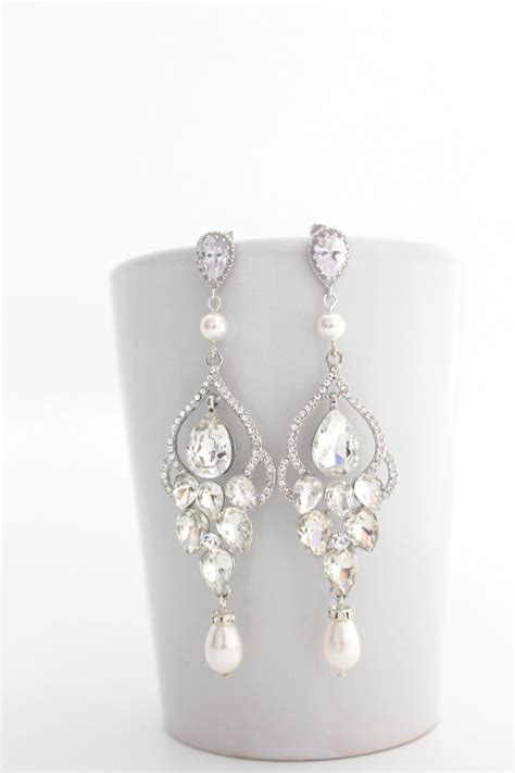 bridal chandelier earrings chandelier by estylojewelry