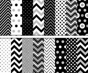 Chevron digital paper Black and white digital paper Polka Dots