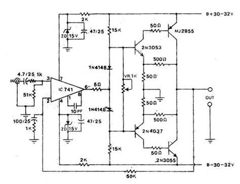 Watt Power Audio Amplifier Circuit Scheme
