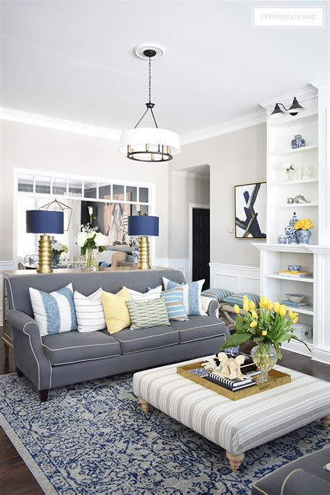 Gray Living Room Blue Kitchen by Home Tour With Vibrant Yellows And Pretty Blues