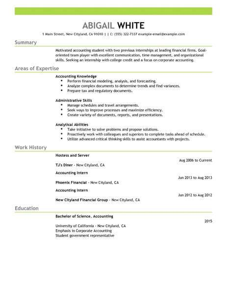 Resume Sles For College Students Seeking Internships by Best Internship Resume Exle Livecareer