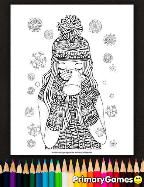 Girl Drinking Hot Chocolate Coloring Page   Printable