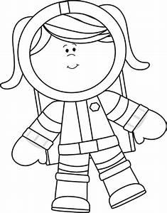 Black and White Girl Astronaut Floating Clip Art - Black ...