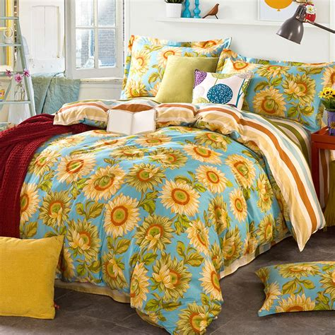 bright blue sunflower themed cotton bedding set ebeddingsets