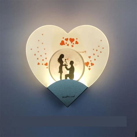 modern concise heart shaped led wall l acrylic led bedside bedroom led wall light loft
