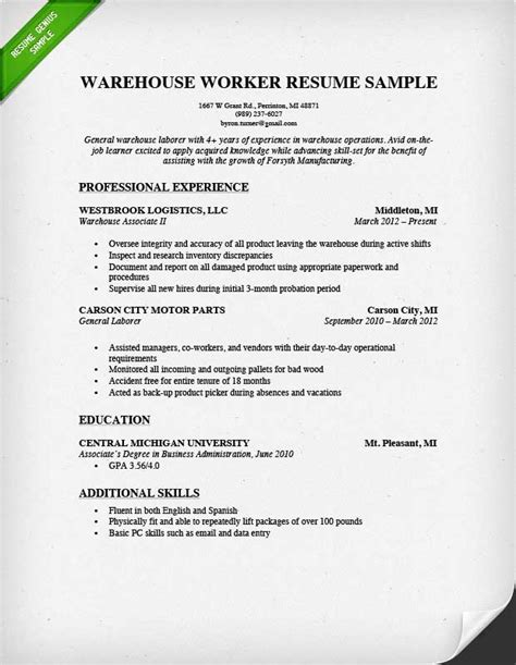 Warehouse Resume Exles by Warehouse Worker Resume Sle Resume Genius