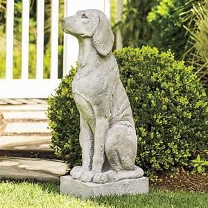 Garden, Dog, Statue