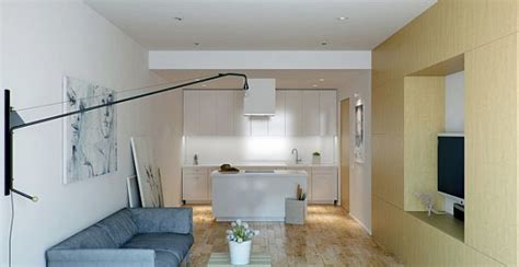 Small Apartment With Foldaway Features by Foldaway Features Apartment Interior Design