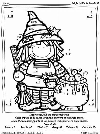 Halloween Number Addition Math Coloring Worksheets Puzzles