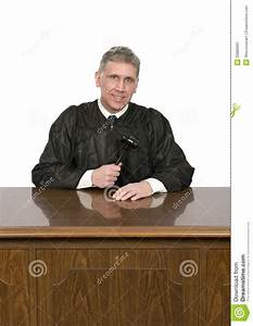 nice friendly law judge with smile isolated stock image With robe bench