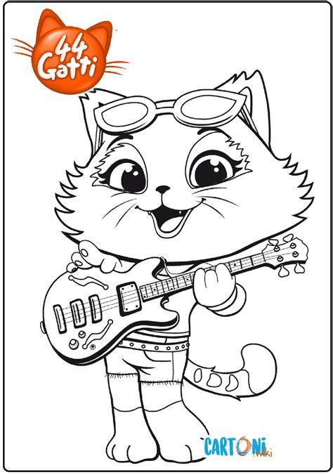 gatti disegno milady  la chitarra da colorare