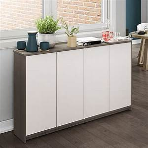 Bestar, Small, Space, 4, Door, Storage, Cabinet, In, Bark, Gray, And, White