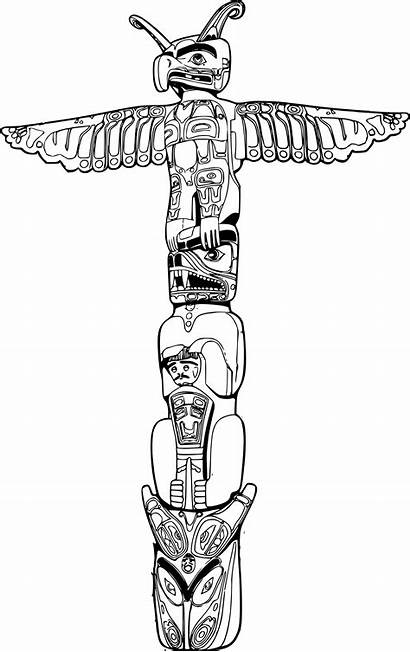 Totem Pole Drawing Clipart Coloring Pages Sketch