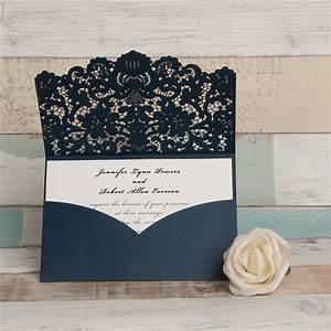 navy laser cut wedding invitations pocket style wedding With laser cut wedding invitations us