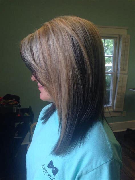 blonde panel  brown hair color long bob  hillary