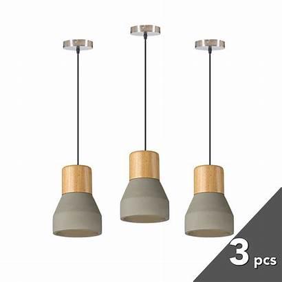 Pendant Concrete Timber Cement Nordic Lamp Modern