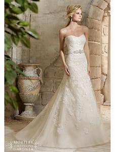 mori lee 2781 strapless lace wedding dress with crystal With lace wedding dress with belt