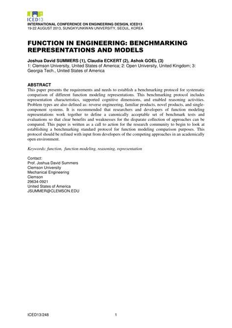 (PDF) Function in Engineering: Benchmarking