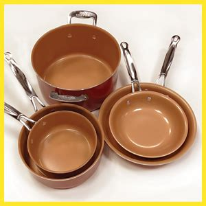 amazoncom bulbhead  copper cookware set  piece red kitchen dining