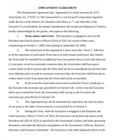 employment agreement template   word  format