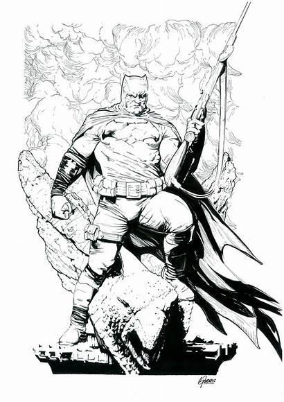 Knight Dark Returns Coloring Batman Pencil Quadros