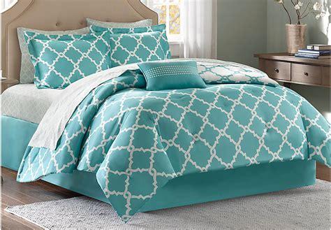 merritt aqua 9 pc comforter set linens blue - Aquamarine Comforter Set