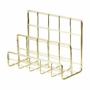 Otto wire 3 tier letter holder gold officeworks for Gold letter rack
