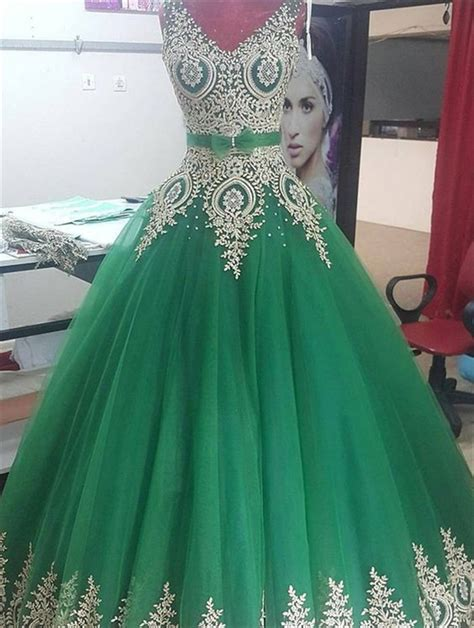 ball gown  neck emerald green tulle gold lace prom dress