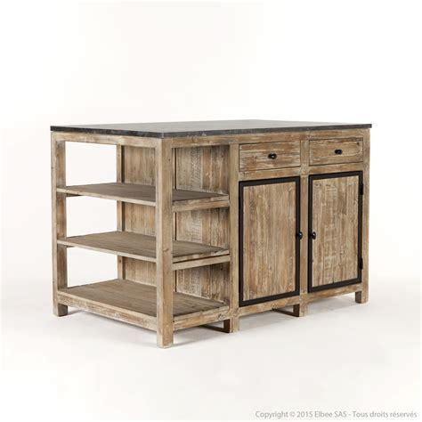 meuble de cuisine ilot central ilot central de cuisine en bois et marbre longueur 145cm