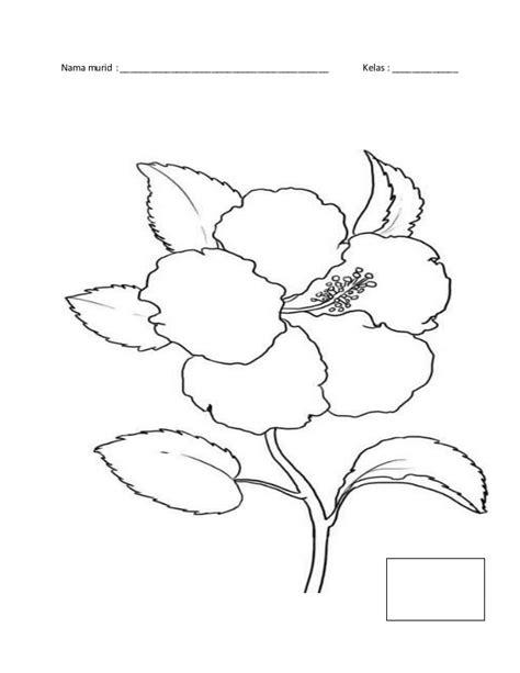 Coloring Bunga by Drawing Bunga Raya Sketch Coloring Page