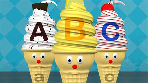 learn abcs  alphabet ice cream cones letters